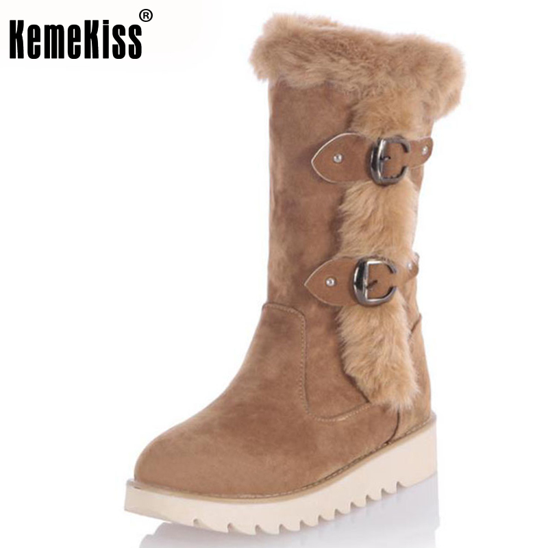 KemeKiss Size 31-43 Gladiator Snow Boots Women Flats Half Short Boot Ladies Warm Winter Mid Calf Boots Footwear Shoes Woman coolcept size 35 40 ross strap flat mid calf boots women thickened fur winter warm snow half short boot footwear shoes p21267