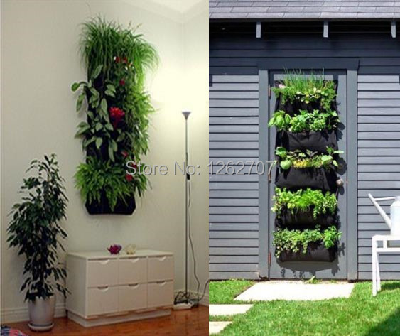 4 Pocket Hanging Vertical Garden Wall Planter   For Herbs Lettuce Flowers  Ferns Planting Bag Wall