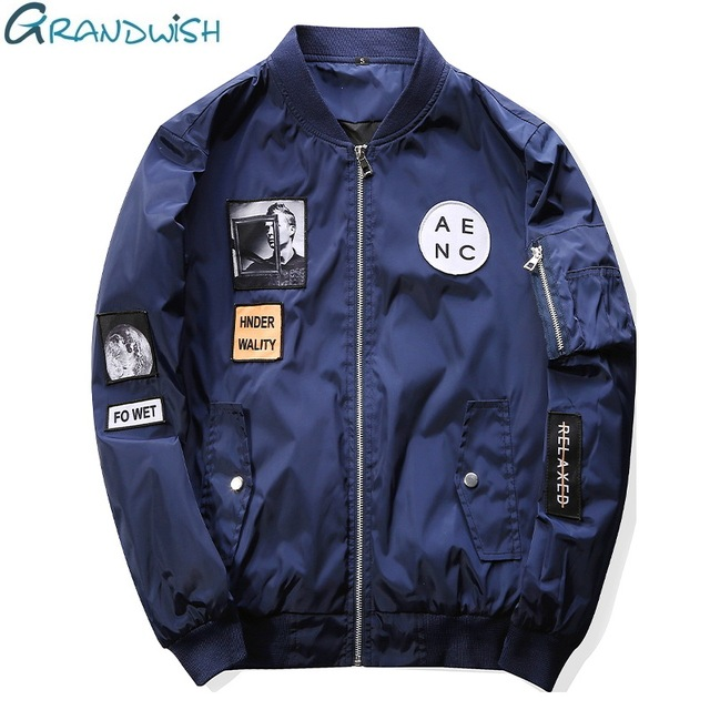 Grandwish Mens Bomber Jackets with Patches New Streetwear Flight Pilot Jacket Men Patch Men's Jacket Slim Fit Cool ,PA573