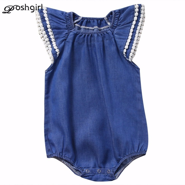 2b97c5582bd55f Cute Newborn Baby Girl Lace Romper Clothes Infant Bebes Lace Jumpsuit Denim  Rompers Jumpsuit Sunsuit Outfits