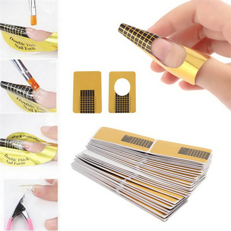 50pcs nail Art Guide Form Sticker Square Paper Golden Acrylic UV Gel ...
