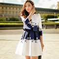 Original New 2016 Brand Autumn Robe Femme Plus Size Slim Casual Elegant White Pleated Vest Dress Women Wholesale