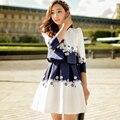 Original Novo 2016 Marca Outono Robe Femme Plus Size Magro Casual Branco Elegante Plissado Colete Vestido Das Mulheres Por Atacado
