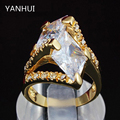 YANHUI Brand Fashion Pure Gold Plated Ring Micro Pave Big Cubic Zircon CZ Wedding Party Ring For Women Exaggerated Jewelry HR395