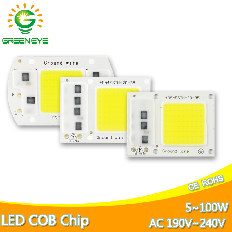 COB Lamp Chip LED Bulb Smart IC Driver DIY Spotlight Flood Light AC 110V 220V 100W 50W 30W 20W 5W Smart IC Replace Lamp Bulb