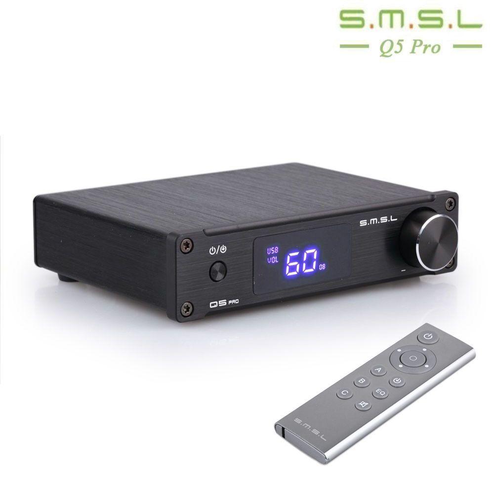 SMSL Q5 Pro High Quality HiFi 2.0 Pure Home Audio Power Digital Amplifier Input Coaxial Optical USB DAC 45W*2 Remote Control