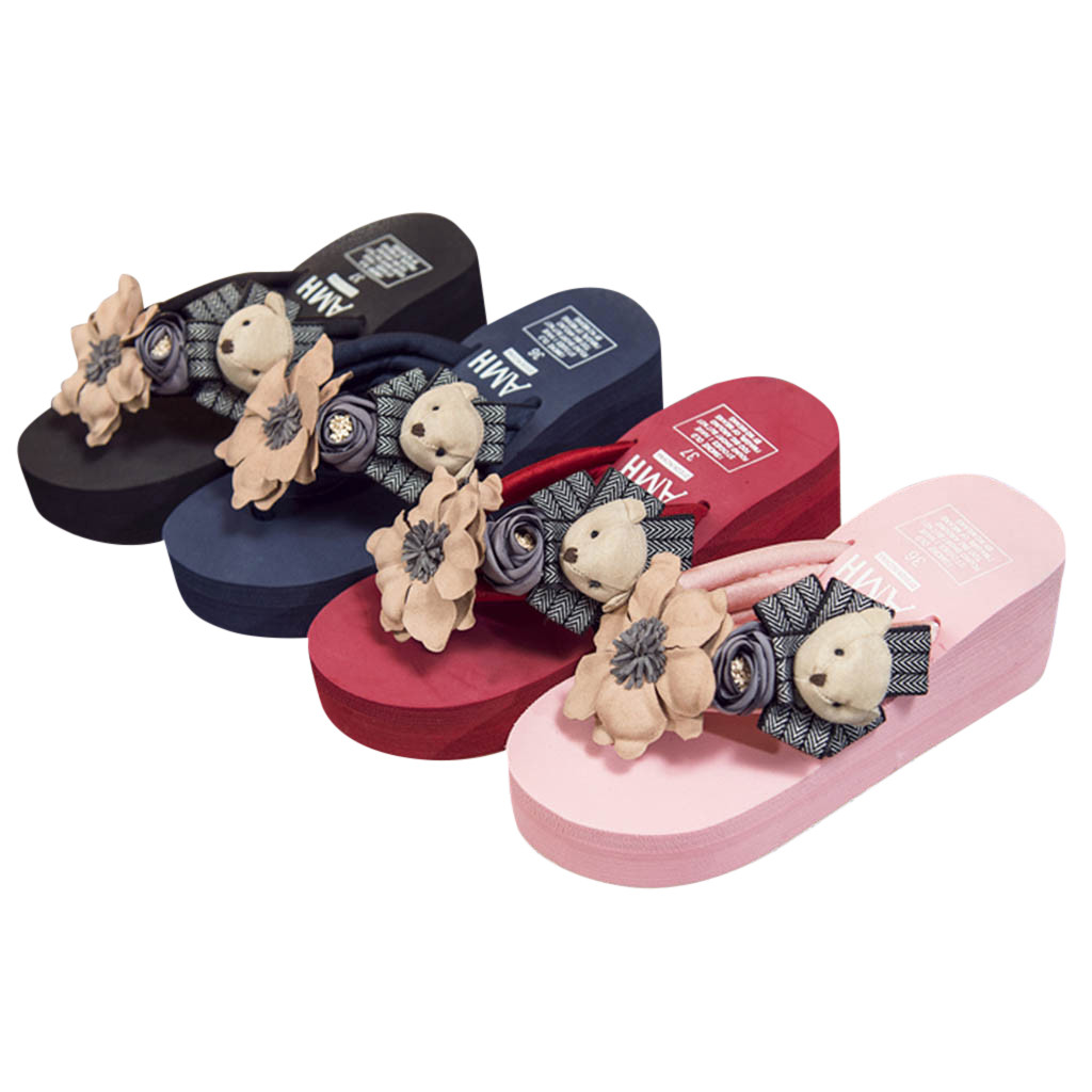 lowest discount reputation first exceptional range of styles and colors US $11.17 18% OFF|Hot Sale Women Girls Cartoon Floral Wedges Cotton Fabric  Flip Flops Sandals Slippers Beach Platform Shoes Good Quality 10-in ...