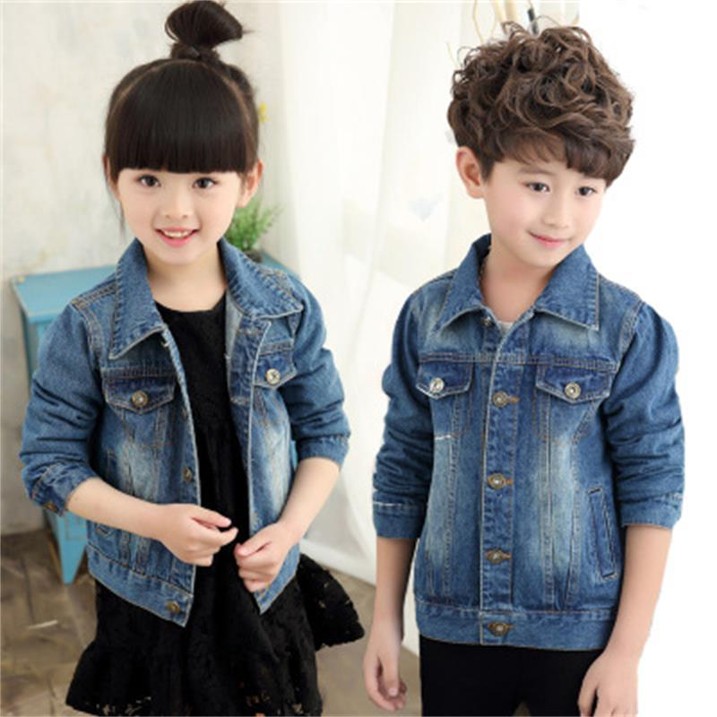 High quality hot selling 2018 spring new Korean fashion girl boy denim jacket children's Slim white boy denim jacket цена
