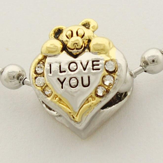 16aeece65 ... I Love You Heart Care Bear animal Charm Bracelets European Beads fit  Pandora charm bracelet.
