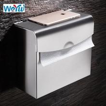 WEYUU Toilet Paper Holders  Brushed Nickel 304Stainless Steel  Paper Rack  Mobile Phone Holder Wall-mounted Rectangular Bag Box