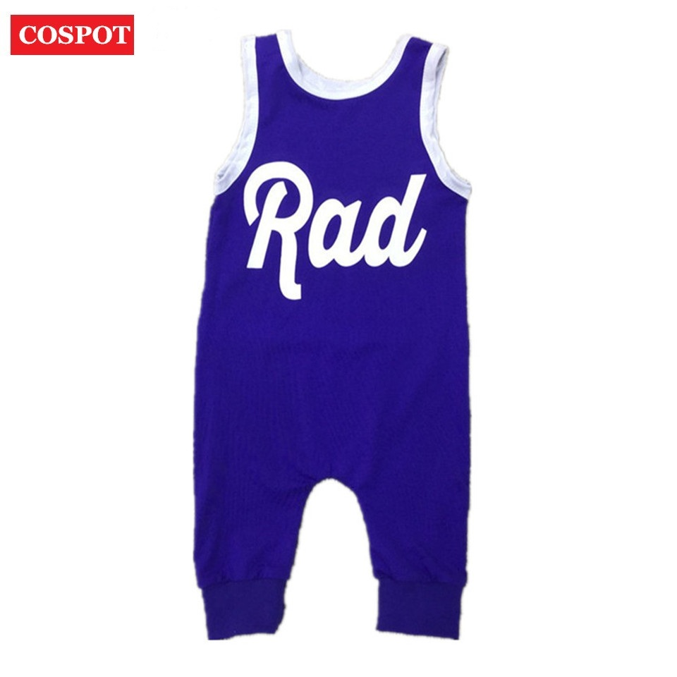 COSPOT Baby Boys Girls Summer Romper Boy Girl Plain Blue Tank Jumpsuit Kids Fashion Cotton Rompers Newborn Jumper 2018 New 35D