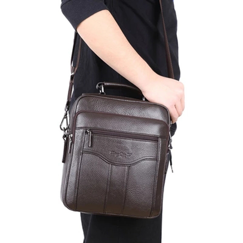 Fashion Style Male bag Genuine Leather Messenger bag for Men Shoulder Crossbody Bags Handbags Small Men Casual Leather Bag male senkey style simple fashion genuine leather men bags high quality men s crossbody bag male casual handbag shoulder messenger bag