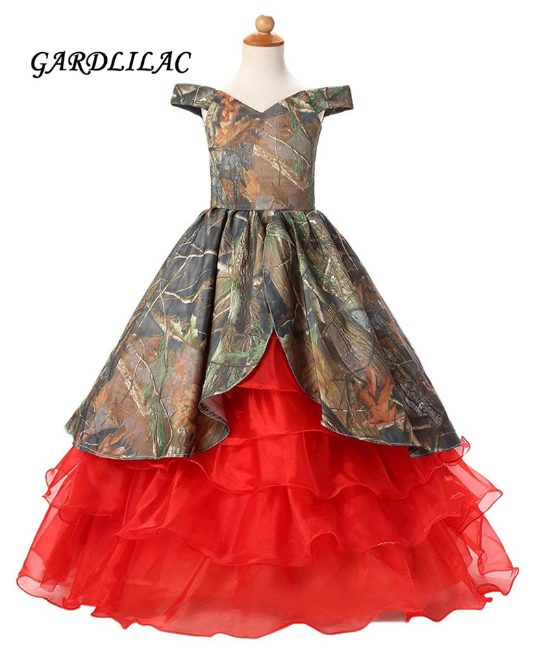 dbcda636883 2019 Camo Red Ruffles Flower Girls Dresses Floor Length Pageant Dress For Girls  Camo Flower girl dress for wedding