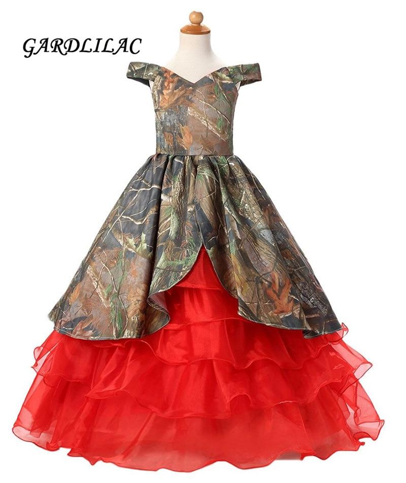 2019 Camo Red Ruffles   Flower     Girls     Dresses   Floor Length Pageant   Dress   For   Girls   Camo   Flower     girl     dress   for wedding