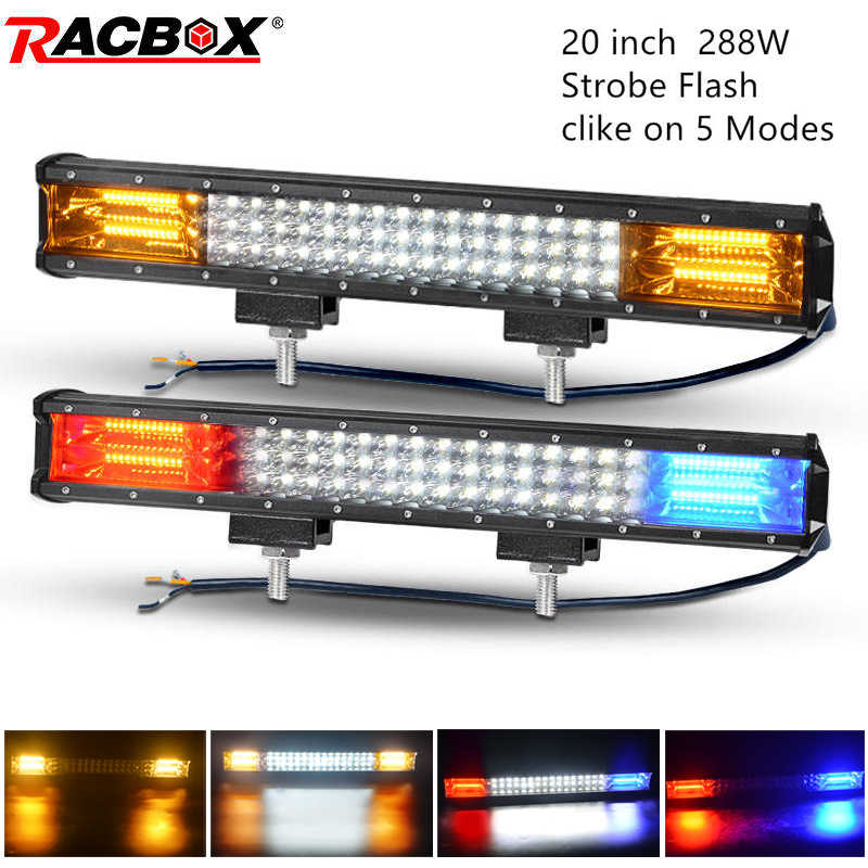20 inch 288W Tri-row LED light bar straight 12V 24V beam OffRoad Running Lights for Off Road 4x4 UAZ ATV Kamaz offroad barra led
