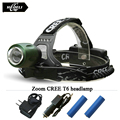 Zoomable CREE XM L T6 Headlamp Led Headlight  Flashlight head2800 Lumens 4 mode waterproof use 18650 rechargeable battery