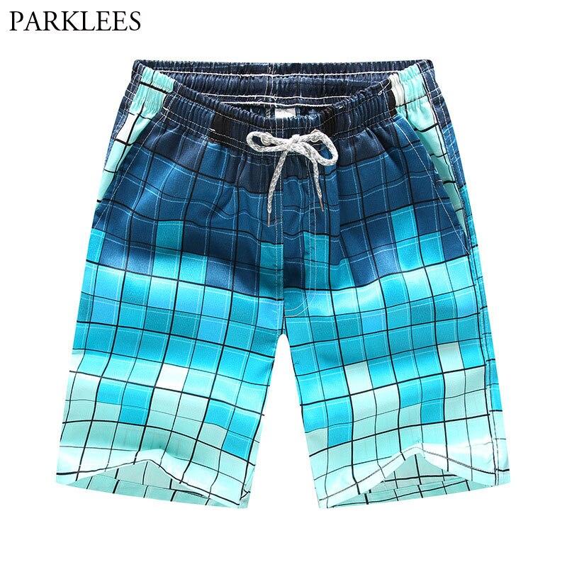Mens Hipster Gradient Plaid Print Hawaiian Beach Shorts 2018 Summer New Quick Dry Men Boardshorts Casual Pocket Bermudas Hommes