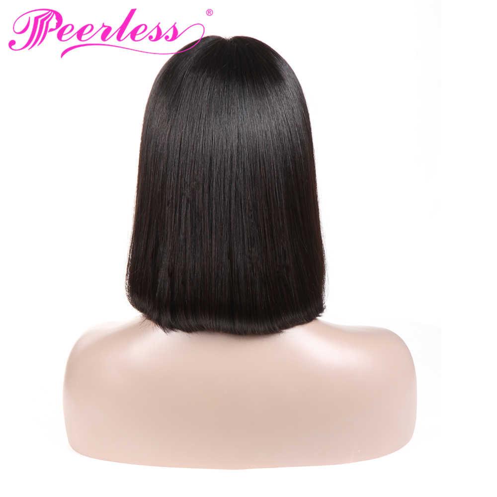 PEERLESS волосы короткие боб парики для черный Для женщин боб парик Синтетические волосы на кружеве парики человеческих волос с натуральным волосяного покрова Волосы remy Бесплатная доставка