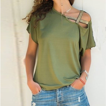 Women Patchwork Solid Tops Casual One Shoulder T-shirt Female Summer Plus Size Tees
