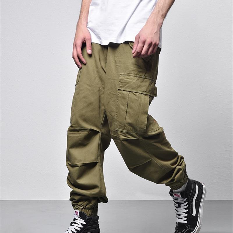 Loose Style Side Pockets Mens Pants Full Length 2018 Cargo Pants Men Black Green