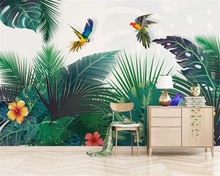 Купить с кэшбэком Beibehang 3d wallpaper Mural tropical plant watercolor hand painted leaves Colorful parrot background wall paper home decor