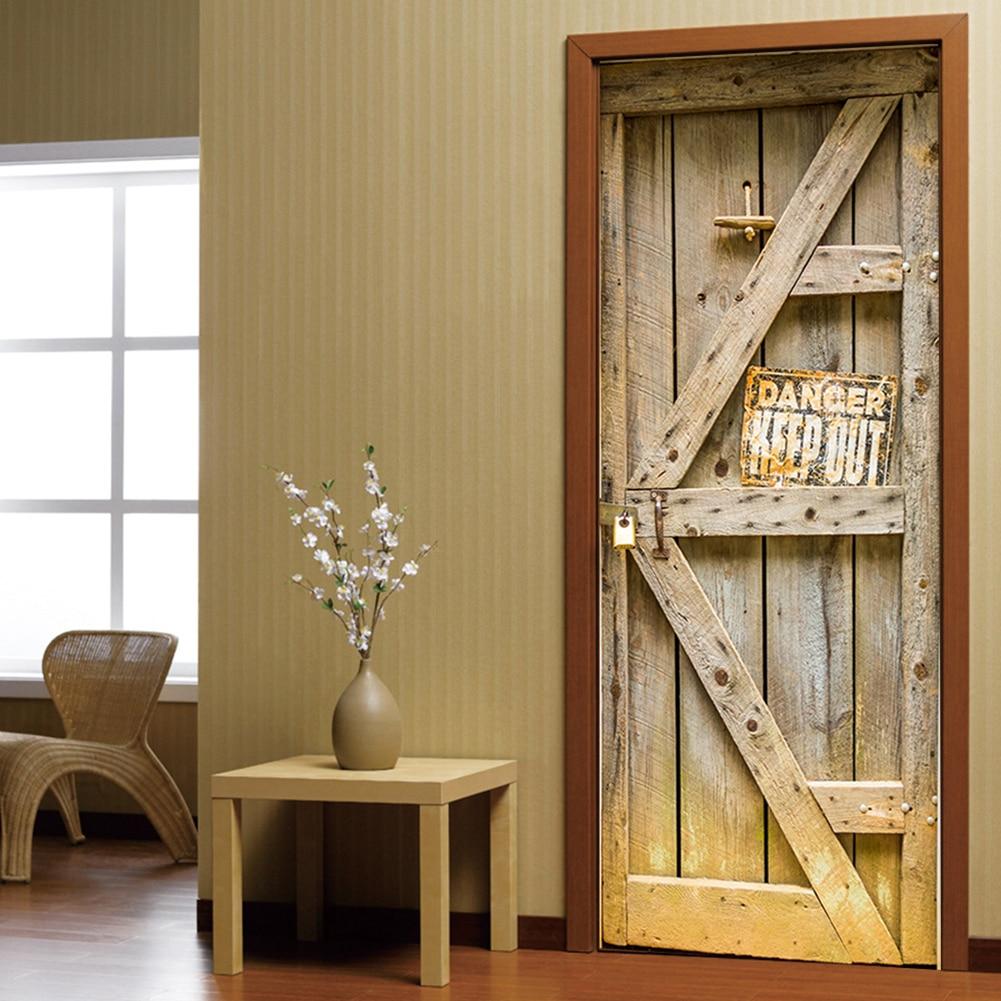 2 Teile/satz GEFAHR HALTEN HERAUS Warnung Zeichen Wand Poster Vintage Holz  Tür Wand Abziehbilder Selbst Adhesive Wohnzimmer Wandbild Aufkleber