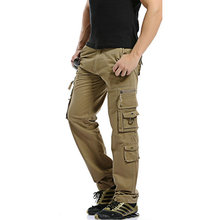 Top Fashion Solid Cotton Cargo Pants Men Casual  Men Trousers Size 28-38