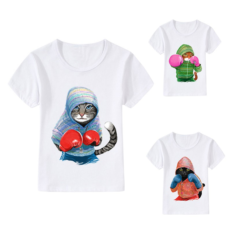 Children T-shirts Cartoon Cats Boxer Print T-shirts Boy Girl Baby Short Sleeve Tops Shirts Spring Summer Clothes suit for 3-8Y