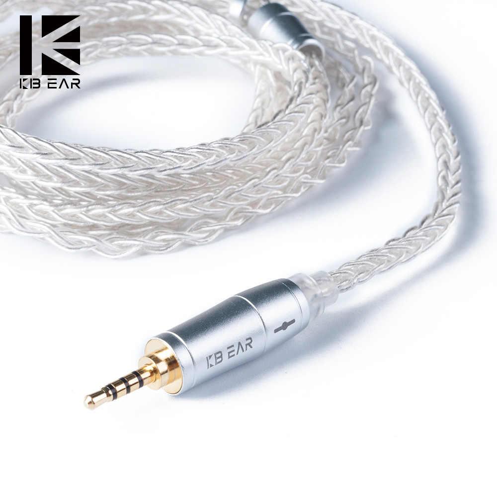 KBEAR 8 Core ترقية الفضة مطلي متوازنة كابل 2.5/3.5/4.4 مللي متر مع MMCX/2PIN/QDC ل KZZS10 ZSN برو C12 ZSX BL-03 BL-05 BL05