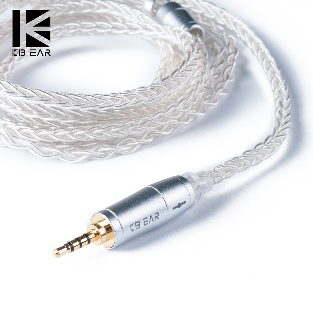 KBEAR 8 Core Upgraded Silver Plated Balanced Cable 2.5/3.5/4.4MM With MMCX/2pin/QDC Connector For KZ ZS10 ZSN Pro AS12 AS16 ZSX
