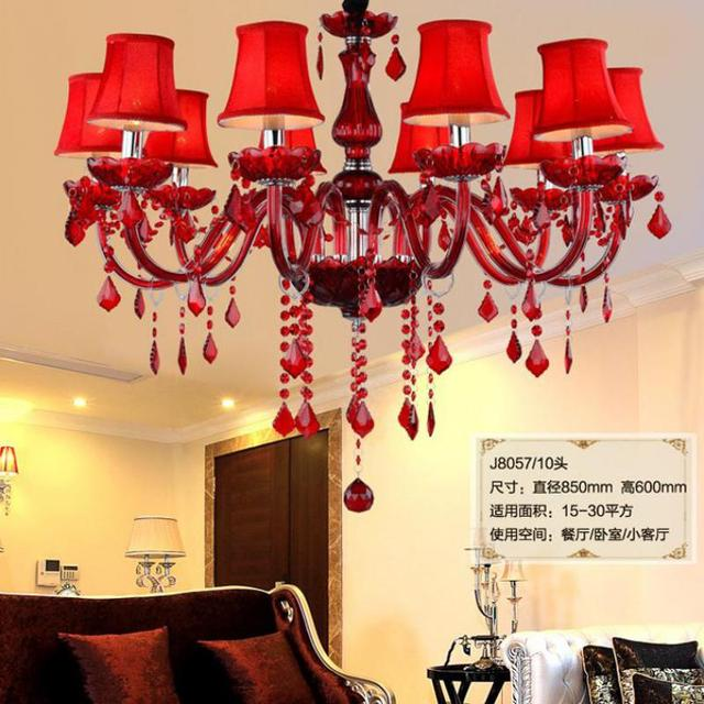 Hallway red lampshade glass chandelier led modern lighting 6/8/10 pcs wedding kitchen led candle lights Lamparas De Techo