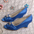 Custom Made Women Blue Satin Wedding Bride Shoes Wedge Heel DropShipping
