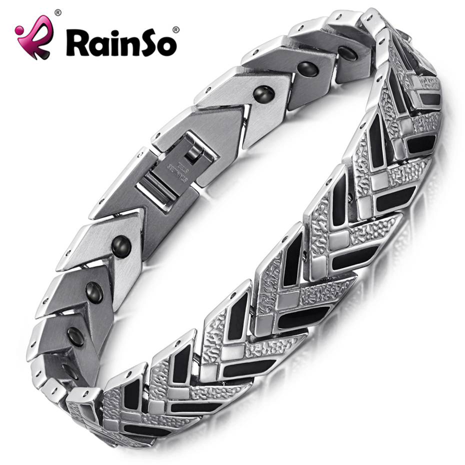 цена RainSo Healthy Hematite Bracelets & Bangles for Men 2018 Hot Sale Bio Energy Bracelet Black Fashion Jewelry Therapy Wristbands