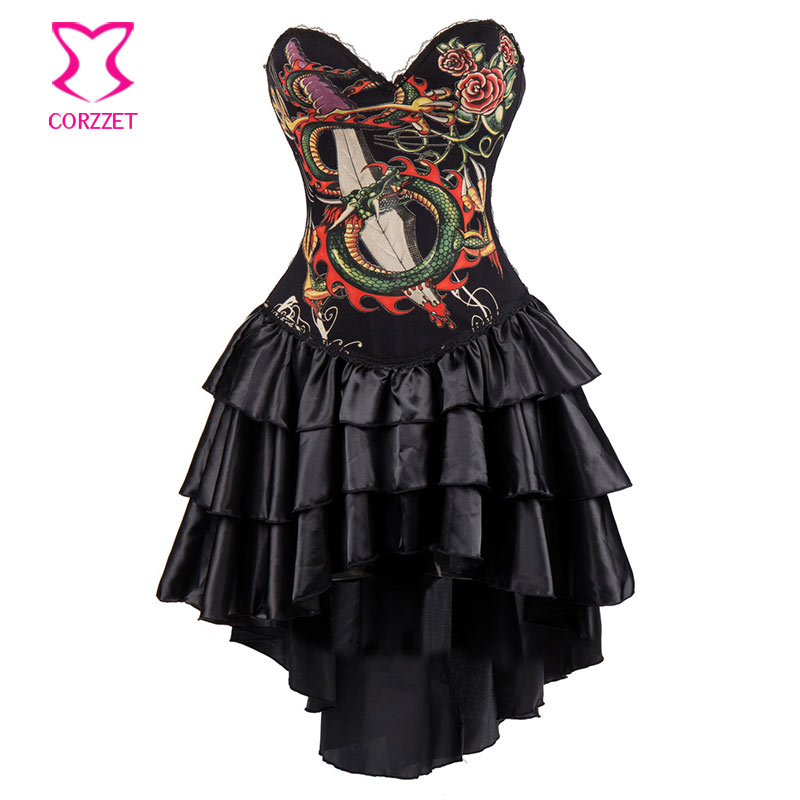 Black Dragon Print Sexy   Corsets   And   Bustiers   Vintage Steampunk   Corset   Dress Gothic Clothing Dresses Burlesque Costumes For Women