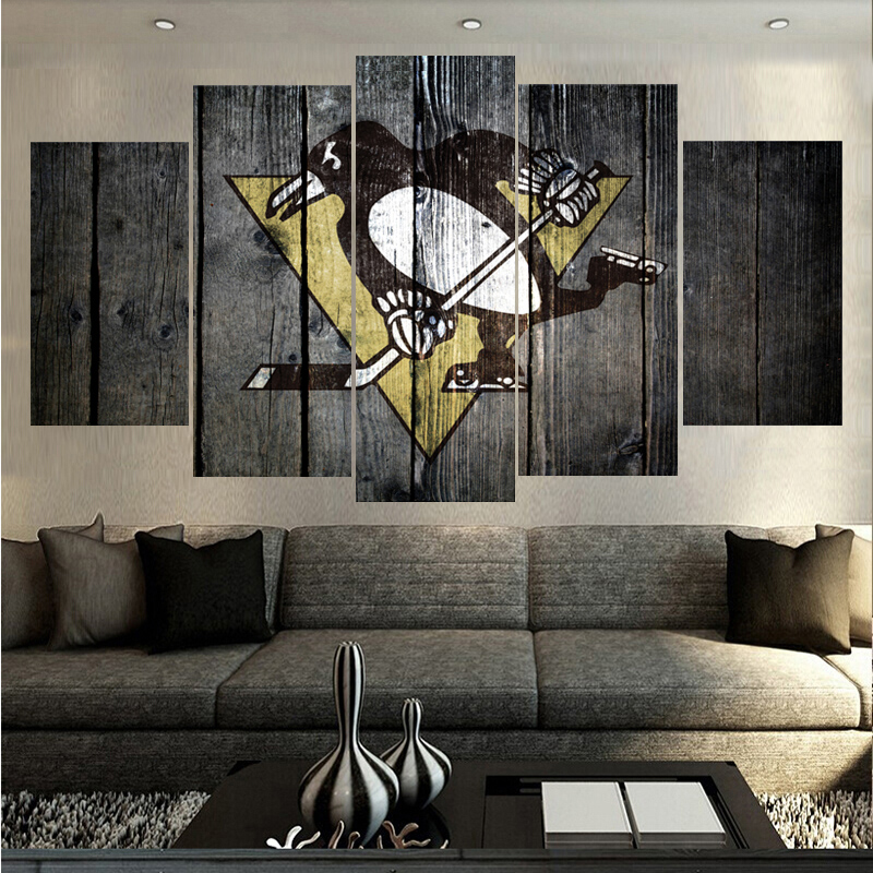 Wood Grain Pittsburgh Penguins Logo Prints Animal Poster Wall Modular Picture Canvas Paintings For Living Room Bedroom Kids Room