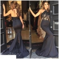 Moda sexy vestidos de baile rendas sereia halter mangas de cetim preto longo dress 2017 backless chão prom dress