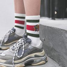 Men Women Tiger Printing Stripes Cotton Socks Streetwear Hiphop Skate Harajuku White Black Happy Socks Fashion Crew Socks Hombre