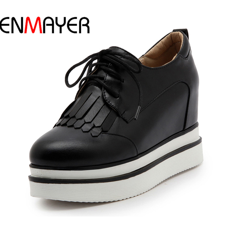 ENMAYER Woman Solid Shallow Flats Shoes Sweet Fringe Round-Toe Loafers Increase In Casual Lace-Up Plus Size 34-42 Spring/Autumn plus size 34 41 black khaki lace bow flats shoes for womens ds219 fashion round toe bowtie sweet spring summer fall flats shoes