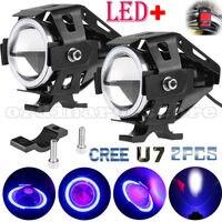 2pcs Angel Eye Halo CREE U7 LED 125W Motorcycle Work Light Driving Fog Spot Lamp
