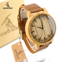 Luxury Brand BOBO BIRD Bamboo Wristwatch With Genuine Cowhide leather Men and Women Watch relogio masculino Leather Strap Clock