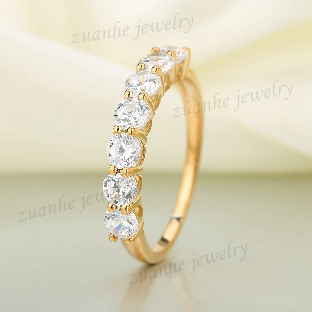 цена на 3.4MM Round Cut Brilliant CZ 925 Sterling Silver Yellow Gold Plated Wedding Ring Cubic Zirconia