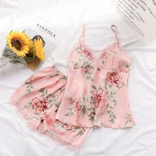 Summer Women Fashion Flower Pajamas Women Sleep Lounge Pajam
