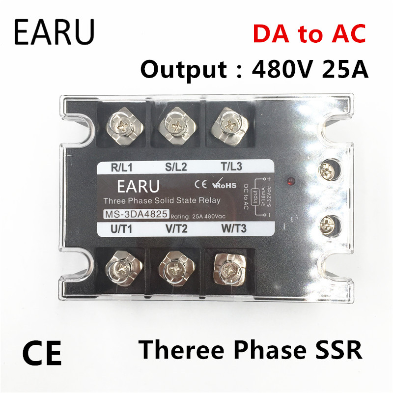 TSR-25DA SSR-25DA Three Phase Solid State Relay DC 5-32V Input Control AC 90~480V Output Load 25A 3 Phase SSR High Power DA4825 ssr 25a single phase solid state relay dc control ac mgr 1 d4825 load voltage 24 480v