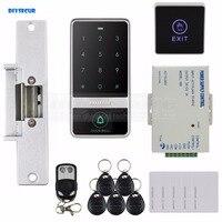 DIYSECUR Touch Button 125 KHz RFID Reader Password Tastiera + Sciopero Blocco + Remote Control Door Access Control Security System Kit-in Kit per controllo accesso da Sicurezza e protezione su