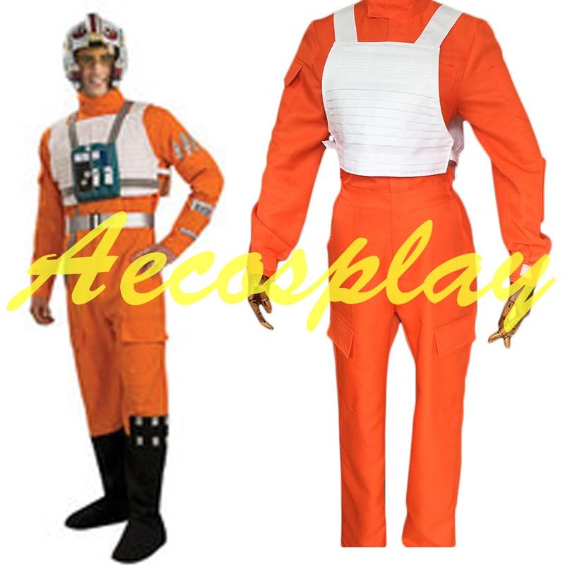 2016 Date Fantaisie Star Wars X-Aile Combattant Rebelle Pilote Orange Salopette + Gilet Blanc Cosplay Costume