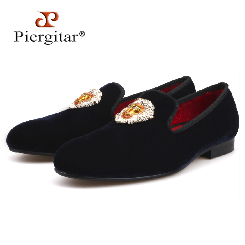 Piergitar new Lions Buckle Men black and navy Velvet Shoes Prom and Banquet Loafers Smoking Slippers Men'Flats Size US 4-17 цена