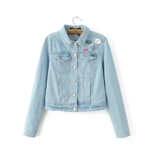 Embroidery women denim bomber jacket pockets turn-down collar 2016 New Fashion light blue long sleeve autumn spring jeans coat