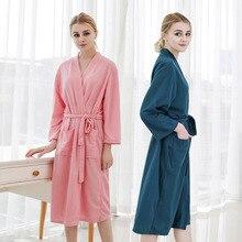 2019 Spring Women Sleepwear Nightwear Robe Soild Winter Autumn Men Bathrobe Belt Elegant Bathroom Spa