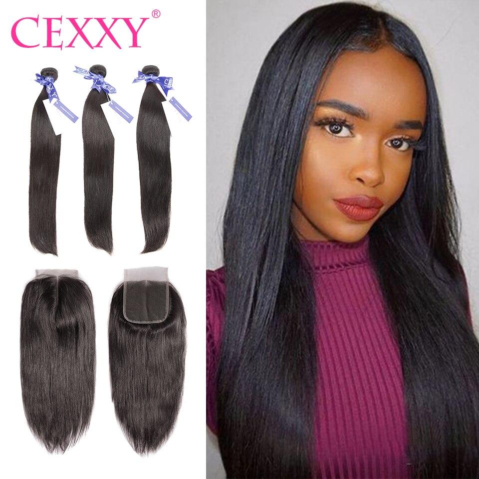 CEXXY 6A pelo brasileño Remy armadura del pelo paquetes de cabello humano  con cierre recto 4 7b6b162d1f0c