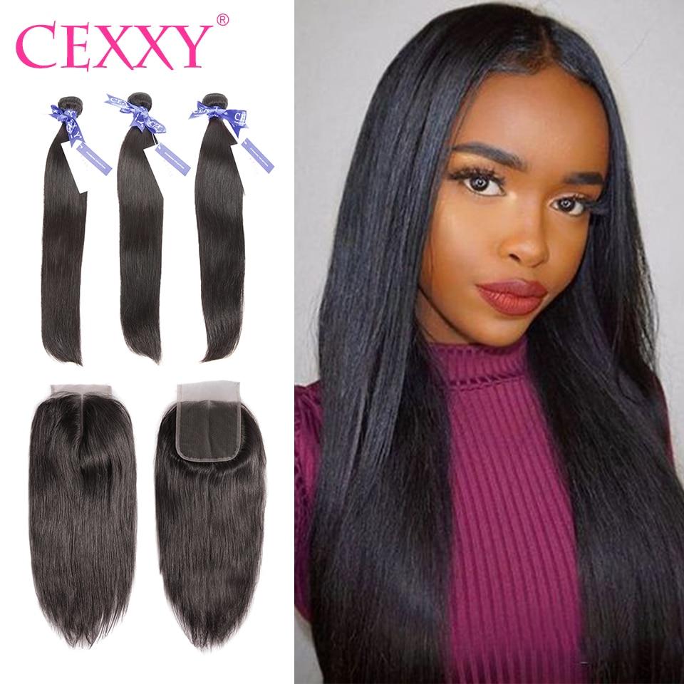 Human Hair Weaves 8a Cexxy Indian Virgin Hair With Closure Human Hair Bundles Deep Wave 4*4 Lace Closure Free Shipping